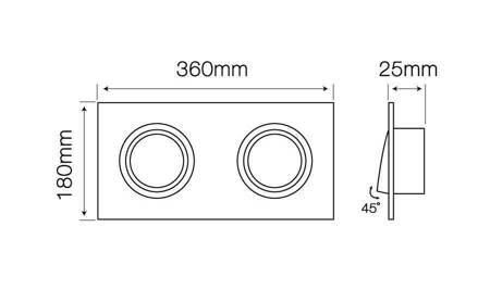 Oprawa aluminiowa AR111 kwadrat ruchoma podwójna czarny