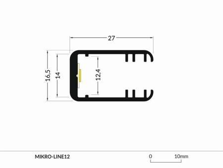 Profil krawędziowy na szybę 8mm  LED Mikro-Line12 J anodowany 1 metr