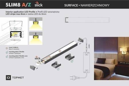 Profil nawierzchniowy do taśm LED Slim8 A/Z anodowany 1 metr