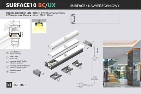 Profil nawierzchniowy do taśm LED Surface10 BC/UX anodowany 2 metry