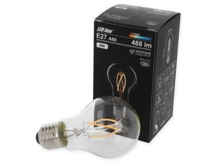 Żarówka LED line FILAMENT E27 A60 180-265V 4W 488lm 2700K biała ciepła