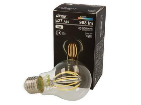 Żarówka LED line® FILAMENT E27 A60 180-265V 8W 968lm 4000K biała dzienna